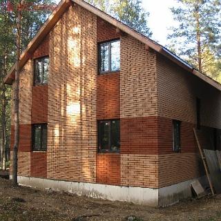Дом из СИП-панелей с отделкой под кирпич (г. Полтава)